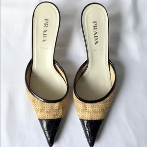 PRADA Croc Print Black Leather and Jute Mule, Sz 9